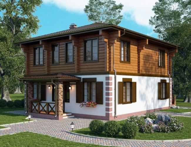 Проект комбинированного дома КД-180, 9х13 м