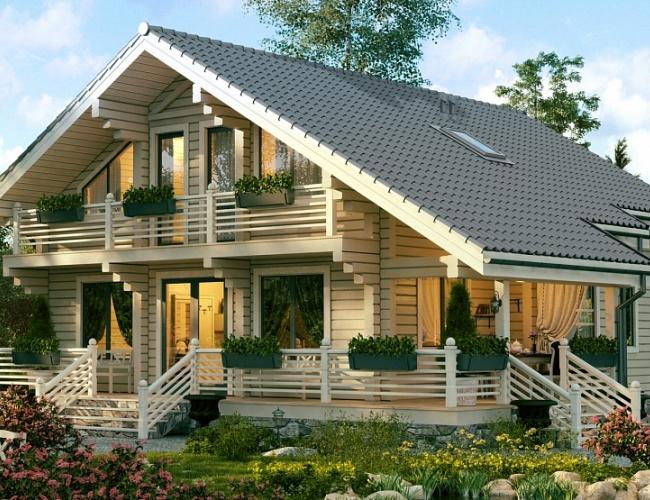 Проект дома из клееного бруса СП-237, 13х11 м