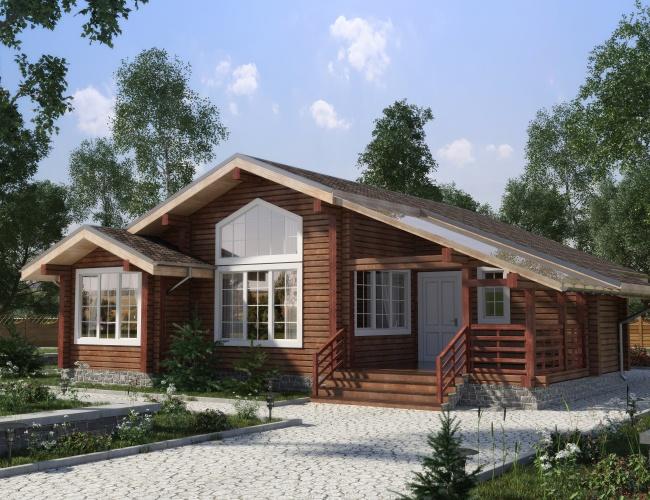 Проект одноэтажного дома из клееного бруса КБ-118