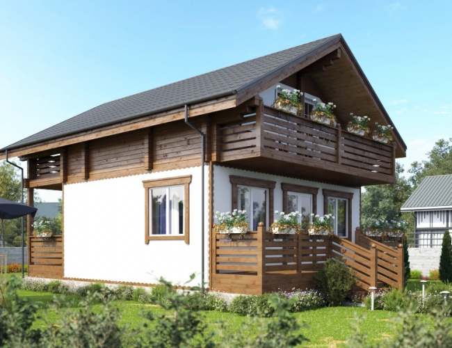 Проект комбинированного дома шале КД-158