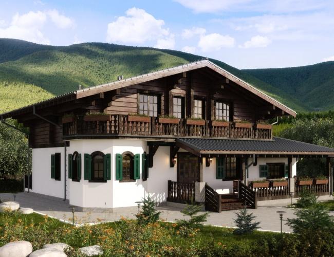 Индивидуальный проект комбинированного дома 407 кв.м.