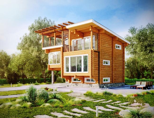 Проект дома из клееного бруса ИП-247