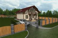 Проект дома из клееного бруса КБ-200, 10х9 м